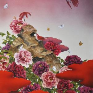 大西高志02-「牡丹群鳥(蝶)図」(2017年)